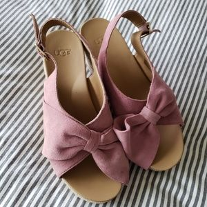 UGG Camilla Pink Bow Espadrille Wedge Sandal